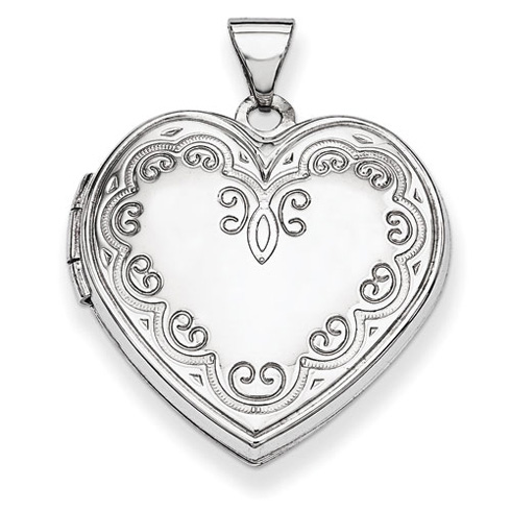 14kt White Gold 21mm Ornate Heart Locket