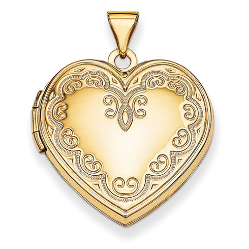 14kt Yellow Gold 21mm Ornate Heart Locket