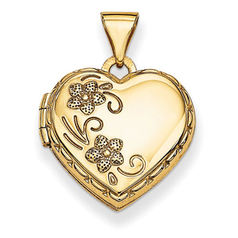 14kt Yellow Gold 15mm Reversible Love You Always Heart Locket