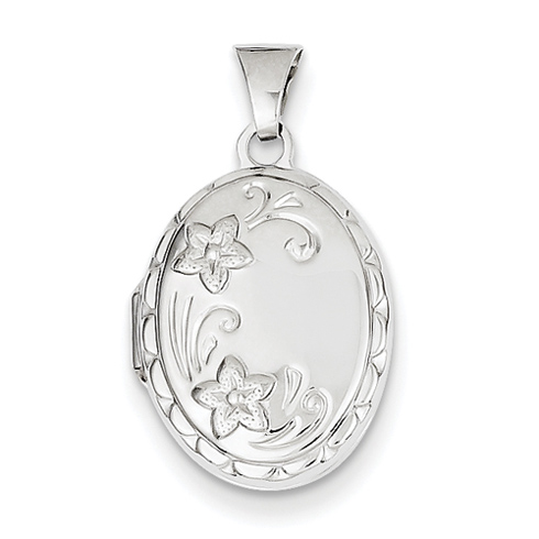14kt White Gold 17mm Oval Locket with Two Flowers