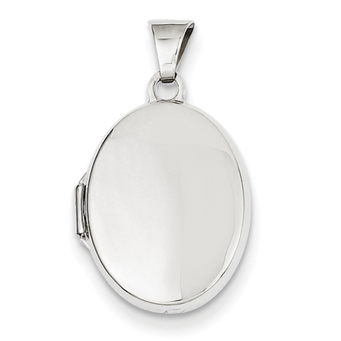 14kt White Gold 17mm Flat Polished Locket