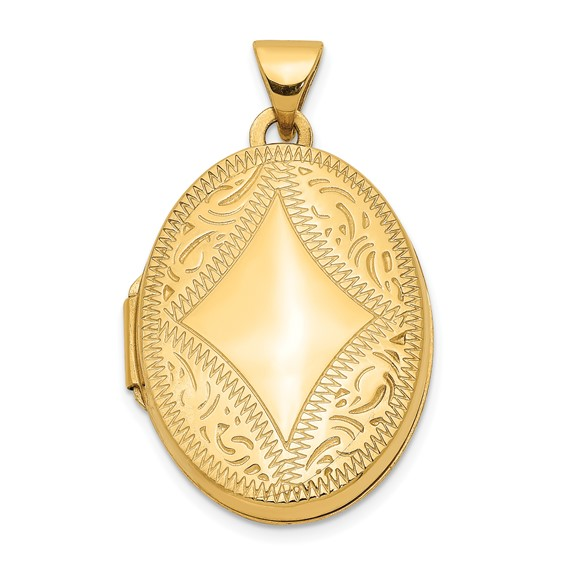 14kt Yellow Gold 21mm Ornamental Oval Locket
