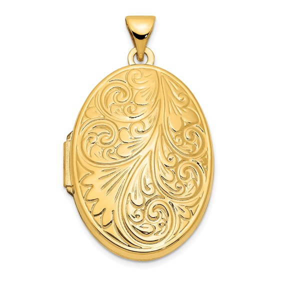 14kt Yellow Gold 1in Scroll Oval Locket