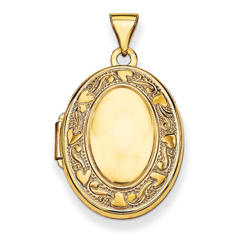 14kt Yellow Gold 21mm Oval Locket with Hearts