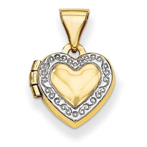 14kt Yellow Gold with Rhodium 3/8in Accent Heart Locket