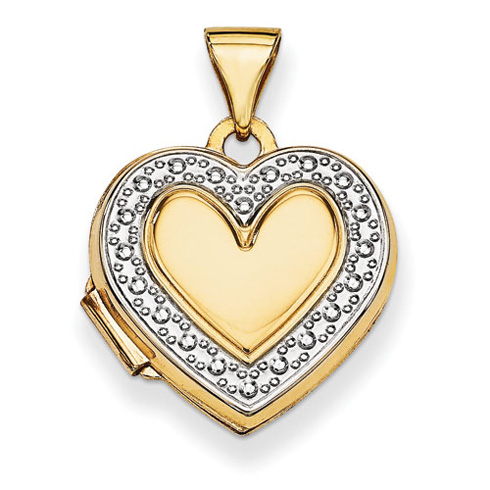 14kt Yellow Gold with Rhodium Accent 5/8in Heart Locket