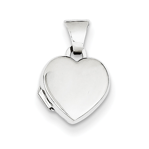 14kt White Gold 3/8in Polished Heart-Shaped Locket