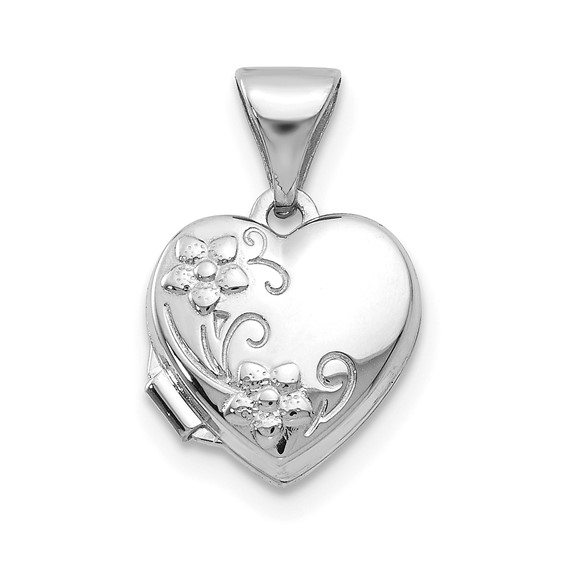 14kt White Gold 10mm Polished Heart-Shaped Floral Locket