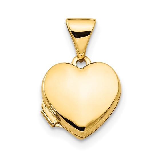 14kt Yellow Gold 3/8in Plain Heart Locket