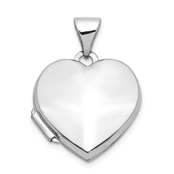 14kt White Gold 5/8in Polished Heart Locket