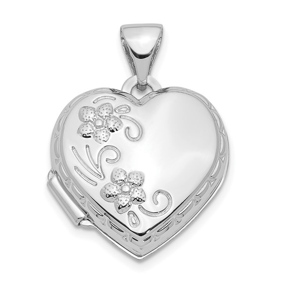 14kt White Gold 15mm Heart-Shaped Reversible Floral Locket