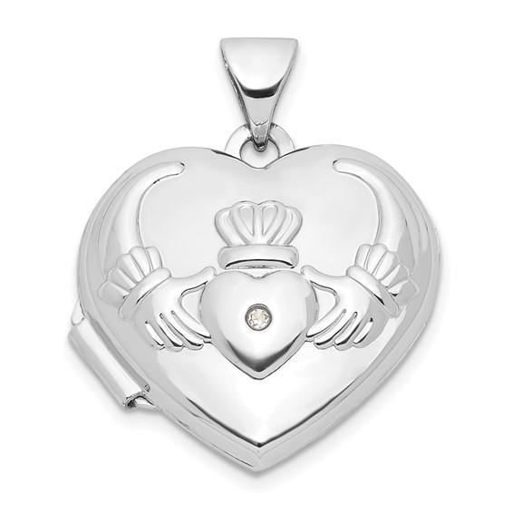 14kt White Gold 15mm Claddagh Heart Diamond Locket