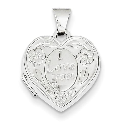 14kt White Gold 15mm Heart-Shaped I Love You Locket