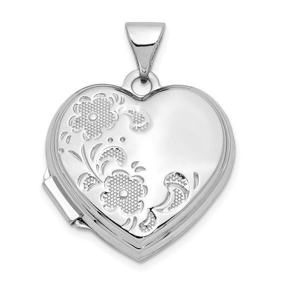 14kt White Gold 18mm Polished Heart-Shaped Floral Locket