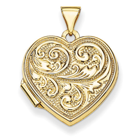 14kt Yellow Gold 18mm Scrolled Love you always Heart Locket