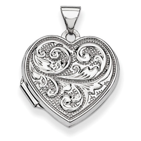 14kt White Gold 18mm Scrolled Love you always Heart Locket