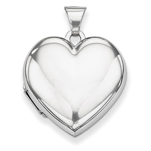 14kt White Gold 7/8in Polished Heart Shaped Domed Locket