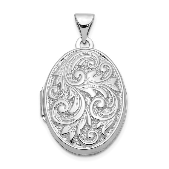 14kt White Gold 21mm Polished Reversible Love You Always Oval Locket