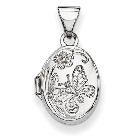 14kt White Gold 1/2in Flower and Butterfly Locket