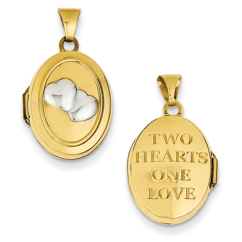 14kt Yellow Gold Rhodium 17mm Two Hearts Oval Locket