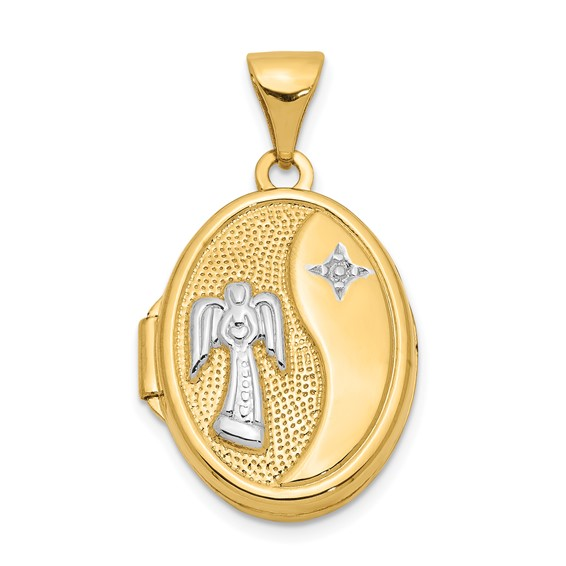 14kt Yellow Gold Rhodium 5/8in Guardian Angel Oval Locket
