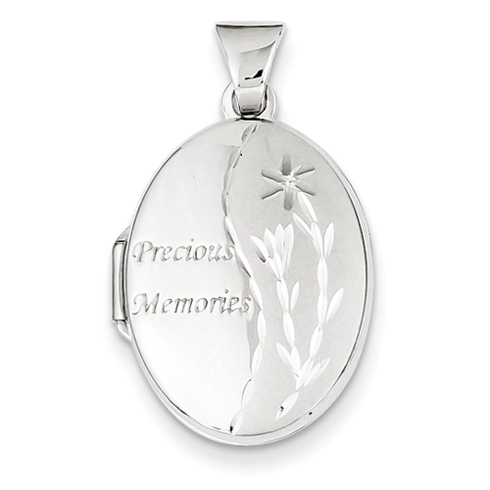 14kt White Gold 21mm Oval Precious Memories Locket