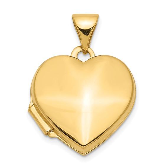 14kt Yellow Gold 5/8in Plain Heart Locket