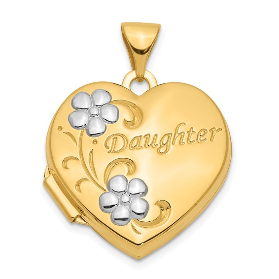 14kt Yellow Gold Rhodium Daughter Floral 18mm Heart Locket