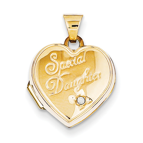 14kt Yellow Gold 15mm Heart Special Daughter Locket with Diamond Accent