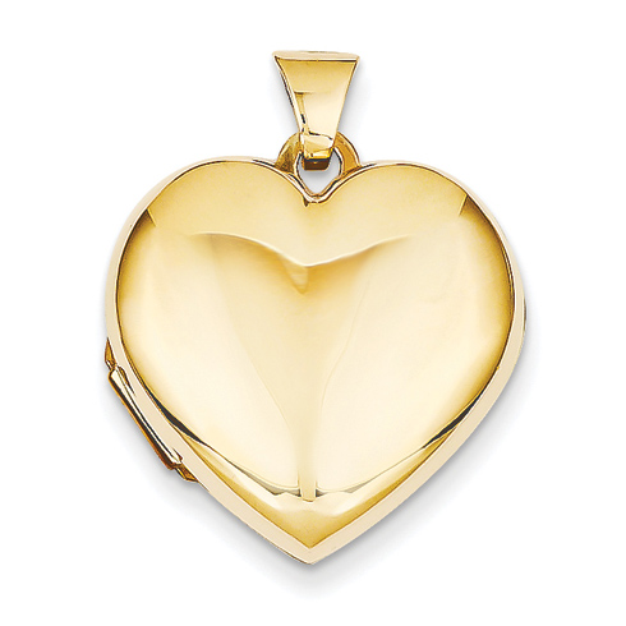 14kt Yellow Gold 21mm Heart Domed Plain Locket