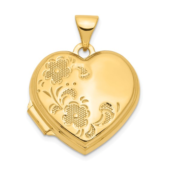 14kt Yellow Gold 18mm Polished Heart-Shaped Floral Locket