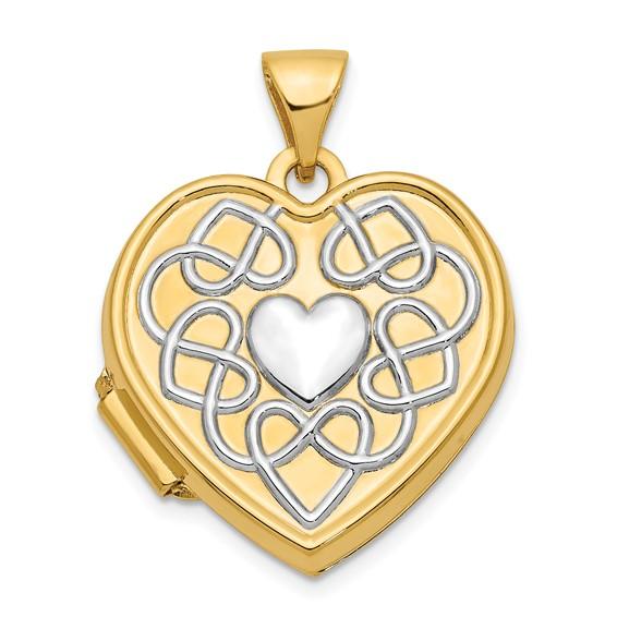14kt Yellow Gold 18mm Heart Rhodium Heart of Gold Locket
