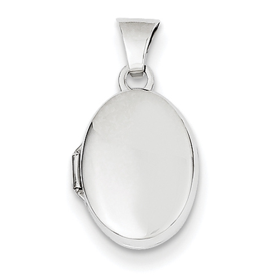 14kt White Gold 1/2in Plain Polished Oval Locket