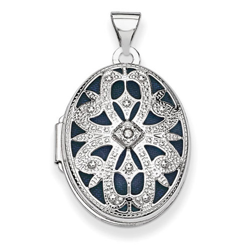 14kt White Gold 7/8in Oval with Diamond Vintage Style Locket