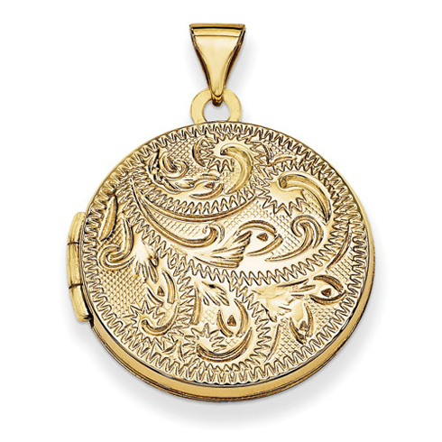 14kt Yellow Gold 20mm Round Fully Scroll Hand Engraved Locket