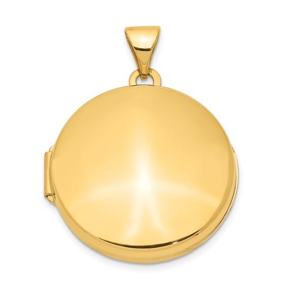 14kt Yellow Gold 20mm Round Flat Locket
