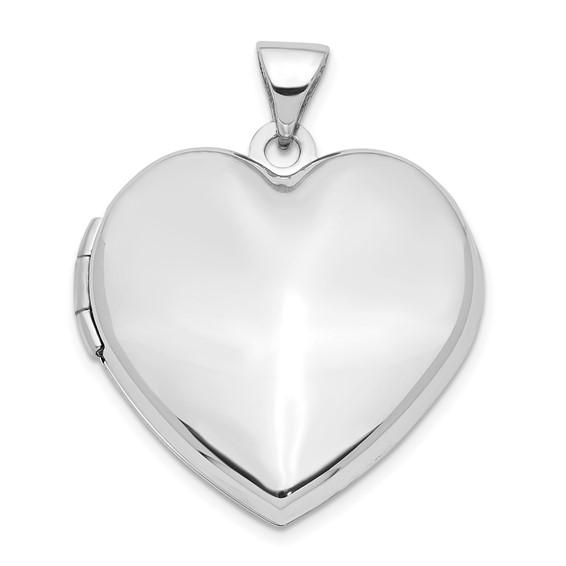 14kt White Gold 21mm Heart Plain Domed Family Locket