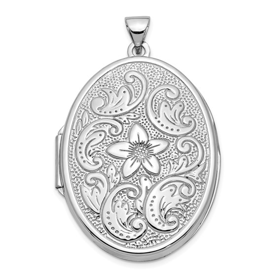 14kt White Gold 1 1/4in Oval Flower With Scrolls Locket