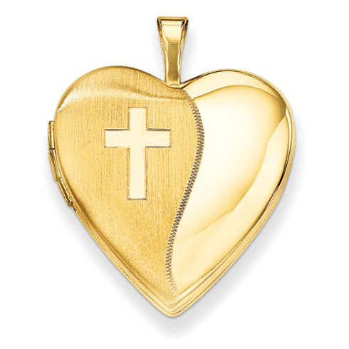 14kt Yellow Gold 3/4in Polished Satin with Cross Heart Locket