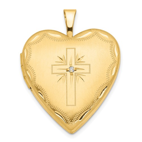 14kt Yellow Gold 3/4in Cross Heart Locket with Diamond Accent