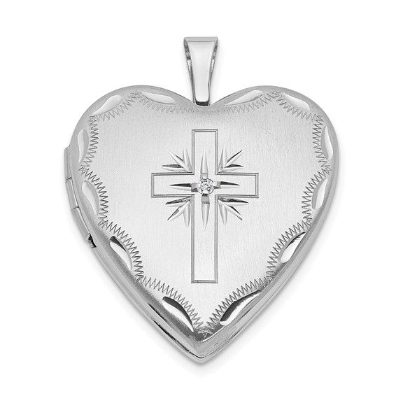 14kt White Gold 3/4in Cross Heart Locket with .01 ct Diamond Accent