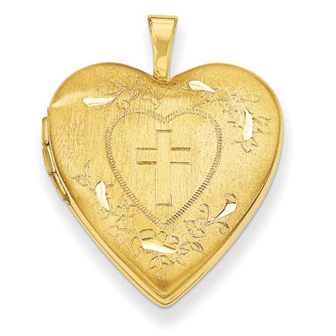 14kt Yellow Gold 3/4in Diamond Cut Heart Locket with Cross