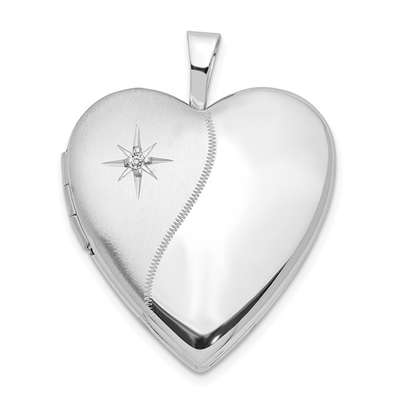 14kt White Gold 20mm Polished Satin with Diamond Heart Locket