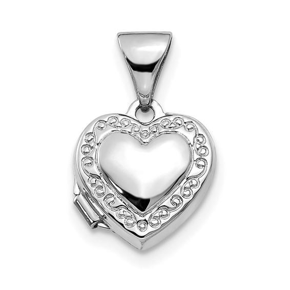 14kt White Gold 10mm Heart Scrolled Locket