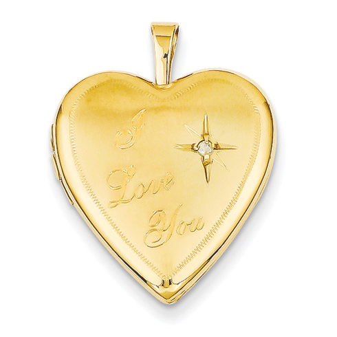 14kt Yellow Gold 3/4in I Love You with Diamond Heart Locket