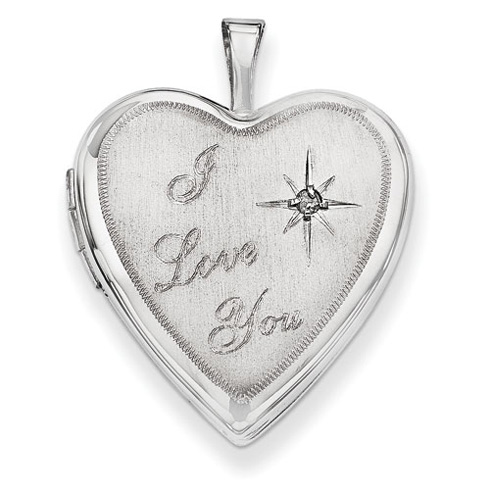 14kt White Gold 20mm I Love You with Diamond Heart Locket