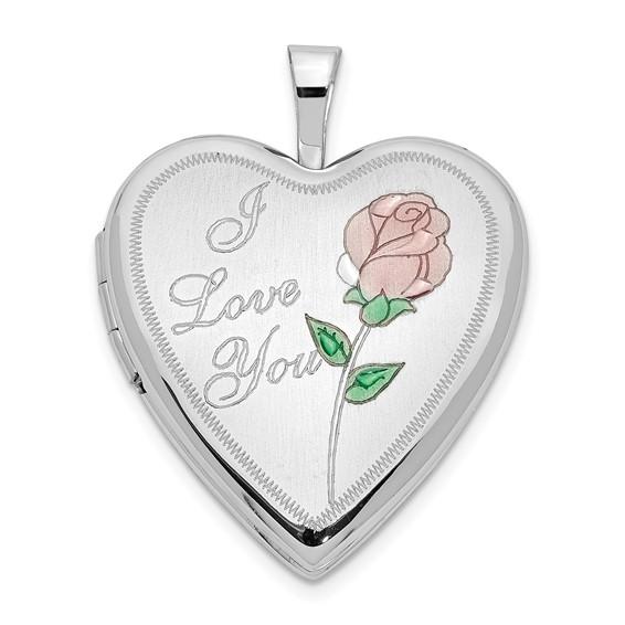 14kt White Gold 3/4in Enamel Rose I Love You Heart Locket