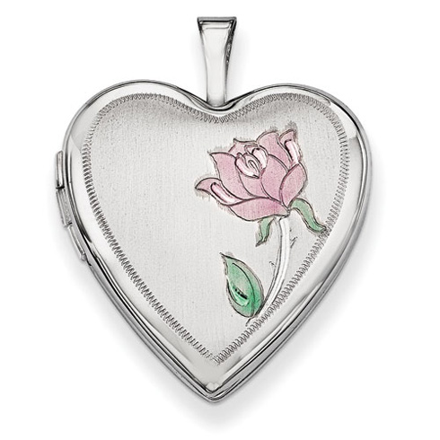 14kt White Gold 3/4in Enamel Rose Heart Locket