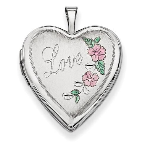 14kt White Gold 20mm Enamel Flowers Love Heart Locket
