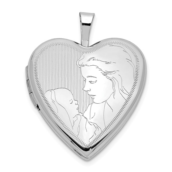 14kt White Gold 20mm Mother and Child Heart Locket